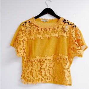 ZAFUL bright yellow crochet top!